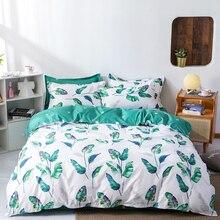 북유럽 4pcs 침구 세트 퀸 사이즈 식물 잎 꽃 무늬 격자 무늬 스트라이프 이불 커버 베개 케이스 더블 킹 세트 이불 커버 침대 시트