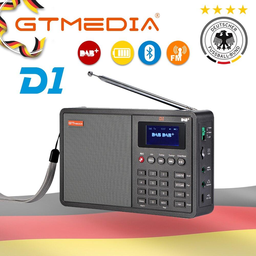 Портативное профессиональное радио GTMedia D1 DAB + Радио Stero поддержка сна для Великобритании ЕС с Bluetooth Встроенный громкоговоритель