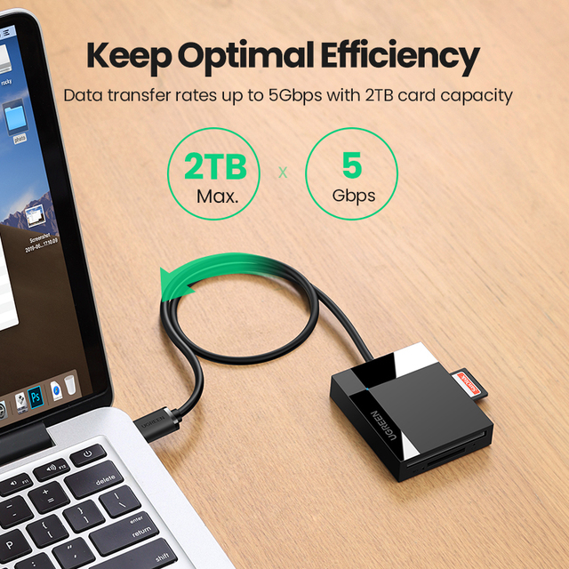 UGREEN Card Reader USB3.0 to SD Micro SD TF CF MS Cardreader for Laptop PC Smart Card Reader SD Card Reader 4 in 1 Card Adapter 6