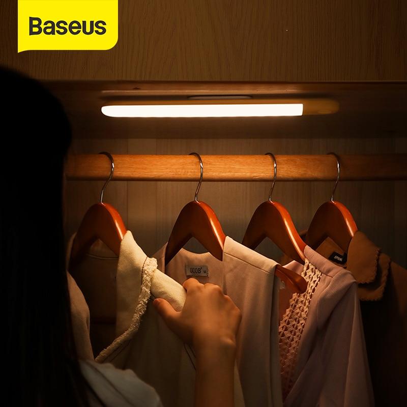 Baseus PIR lampa LED z czujnikiem ruchu oświetlenie podszafkowe nocna lampa na akumulator LED lampa do szafy kuchnia szafa do sypialni