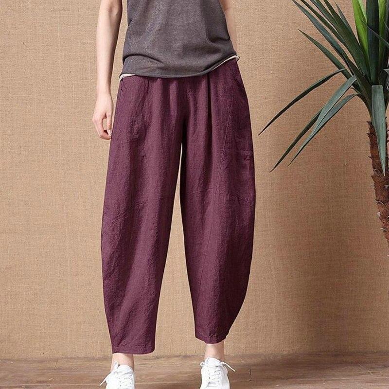 Женские хлопковые льняные брюки с эластичной резинкой на талии в винтажном стиле, брюки женские свободные повседневные штаны размера плюс ...