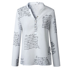 Women Autumn Letters Printed Buttons V-neck Tops Fashion Lady Blouses 2XL Long S