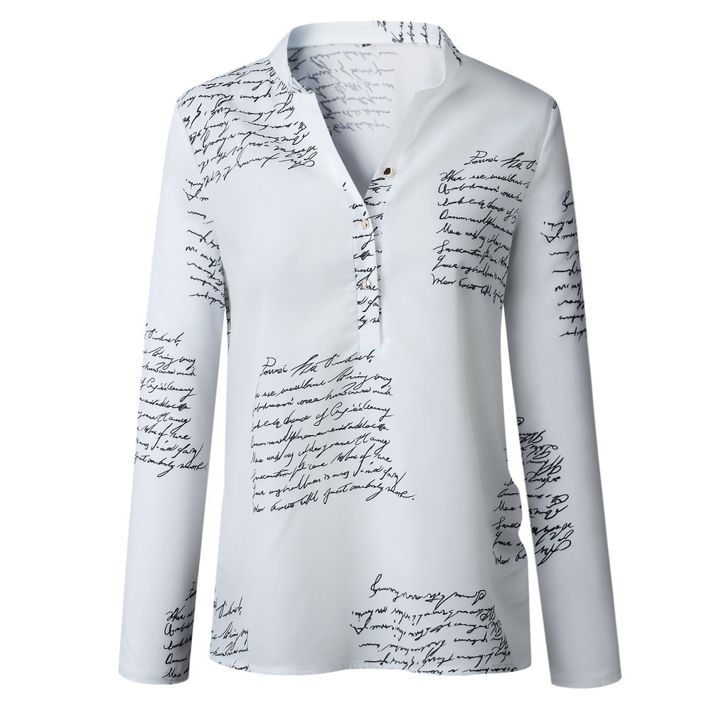 Women Autumn Letters Printed Buttons V-neck Tops Fashion Lady Blouses 2XL Long Sleeve Shirts Spring Blusas Plus Size 2019 S5 image