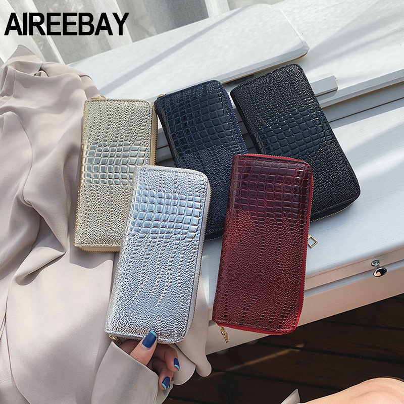 AIREEBAY Woman Wallet Vintage Clutch Wallet Zipper Female Ladies Luxury Crocodile Pattern Purses Credit Phone Card Holder
