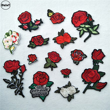 1 PCS Rose Flower Embroidered Iron on Patches for Clothing DIY Stripes Clothes Patchwork Sticker Custom Flowers Applique @Z