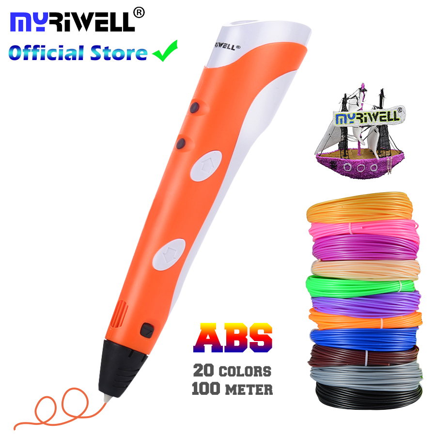 3D Pen Model 3D Printer Drawing Magic Printing Pens With 100M Plastic ABS Filament School Supplies For Kid Birthday Gifts