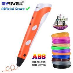 Bolígrafo 3D modelo 3 D impresora dibujo impresión mágica bolígrafos con filamentos de plástico ABS de 100M suministros escolares para regalos de cumpleaños de chico