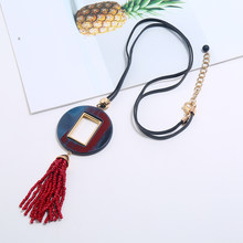 Statement Long rope chain red rice beads tassel pendant necklace women acrylic jewelry choker collares de moda 2019 ketting(China)
