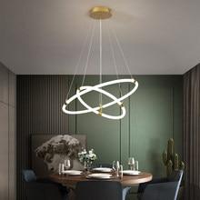 Golden Brushed 3 Rings Modern LED Chandelier Living Dining Room Nordic Simplicity Lustre Ceiling Lamp Indoor Lighting Fixtures