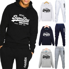 New Brand Men Set 2 Piece Set Tracksuit Casual Solid Color Pullover Hoodie+Pants Sports Suit Sweatshirts Sportwear Men Clothing cheap Spring and Autumn CN(Origin) Full Cotton Polyester Print Regular Hooded Men Tracksuit Hoodies None STANDARD 2 piece suit