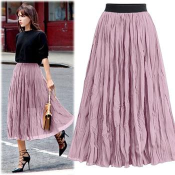 2019 Women Linen Cotton Long Skirts Elastic Women Long Skirts Elastic Waist Pleated Maxi Skirts Beach Boho Vintage Summer Z510 фото