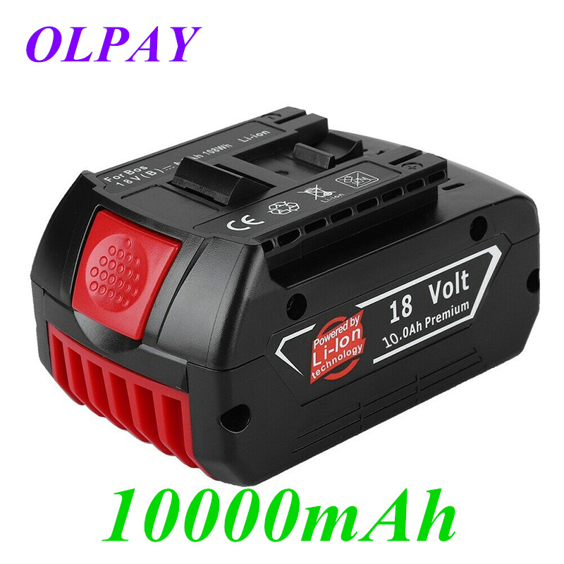 10000mAh 18V Battery Rechargeable Li-ion Battery For Bosch 18V Battery Backup10.0A Portable Replacement BAT609 Indicator Light