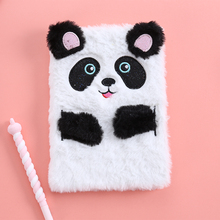Student Cute Panda Diary Book School Preppy Style Notebook With Line Cartoon Fur Hardcover Notepad New Lovely Stationery Diary недорого