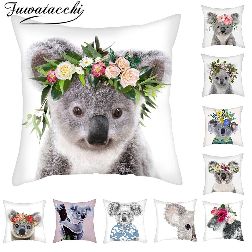Fuwatacchi Cute Koala Cushion Cover Cartoon Animal Koala Pillow Cover For Sofa Car Home Sofa Decorative Throw Pillowcase 45x45cm