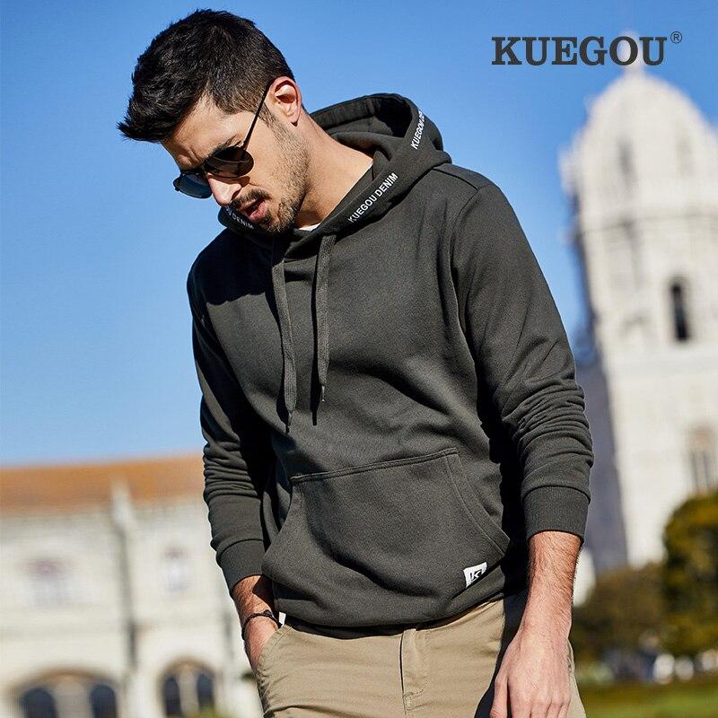 KUEGOU 100% Cotton Men's hoodie autumn fashion sweatshirts men Kangaroo pocket Pure color top plus size Sapphire MW-2286