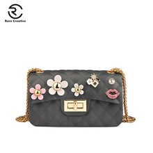 RARE CREATIVE 2019 New Jelly Crossbody Bags Flowers Design Small Chain Bag Messenger Sling For Women Clutch Brand GM6003