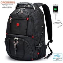 حقائب ظهر جديدة للجيش السويسري مقاومة للماء للسفر مقاس 17.3 بوصة حقيبة ظهر للكمبيوتر المحمول متعددة الوظائف ذات سعة كبيرة مزودة بمنفذ شحن USB حقيبة ظهر