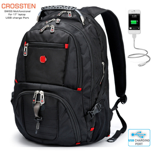 "Image 1 - ใหม่กองทัพทหารสวิสกระเป๋าเดินทางกันน้ำ 17.3 ""กระเป๋าเป้สะพายหลังแล็ปท็อปขนาดใหญ่ความจุพอร์ตชาร์จ USB กระเป๋าเป้สะพายหลัง"