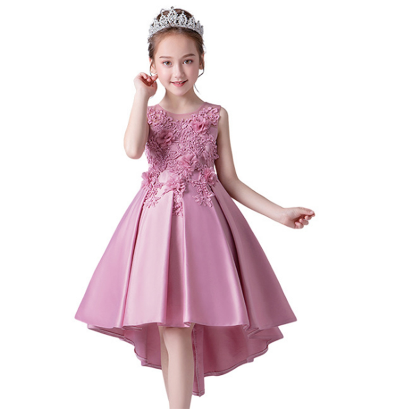 2019 Flower Trailing Dress Pageant Ball Gown For Girls Children Princess Dress Girl Wedding Dress 10 12 Years Dropshipping