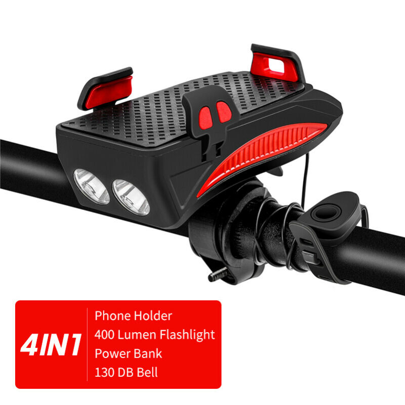 4in1 Bike Bicycle Phone Holders & Stands LED Headlight Horn Bell Phone Bracket Holder USB Rechargeable For Samsung, Iphone Huwei