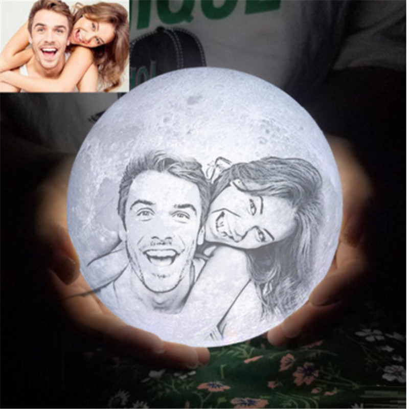 3D Print LED Moon Light Customized 2 16 Colors Tou