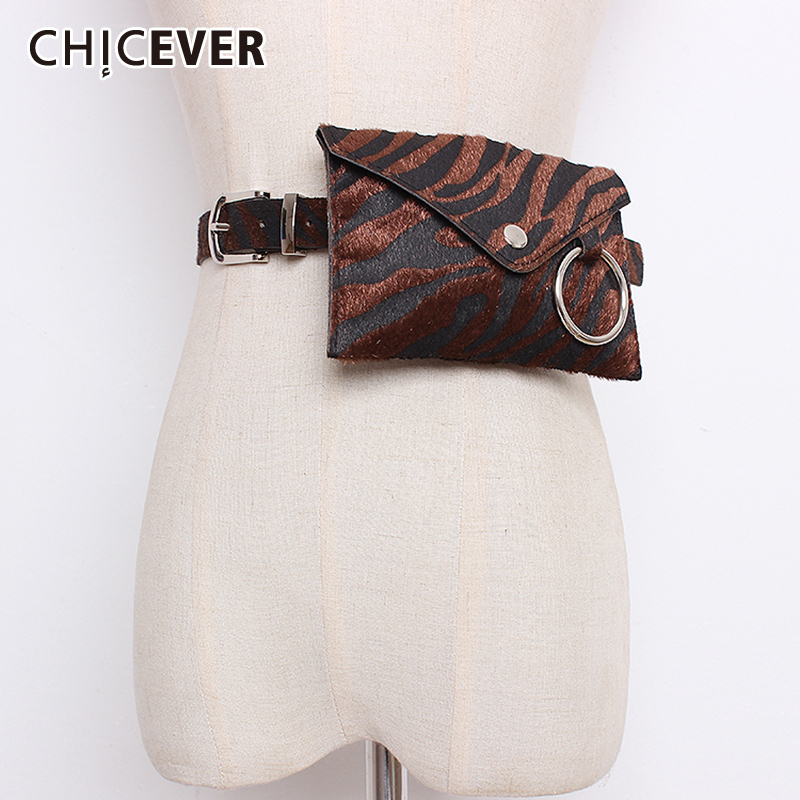 CHICEVER PU Leather Print Women's Wide Belt Mini Pockets Fashion Streetwear Style Waist Belt Fashion 2019 Autumn Winter New