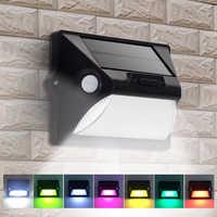 Luzes solares ao ar livre pir sensor de movimento led lâmpada parede dupla pir indutor 7 mudanças de cor 3 modos decoração do jardim/luz segurança