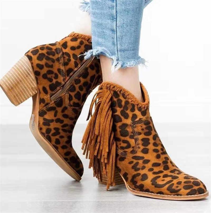 MORAZORA 2020 yeni varış kadın yarım çizmeler Leopar püskül moda Batı çizmeler fermuar sonbahar kış yüksek topuklu ayakkabılar kadın