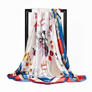 2020 Kerchief Silk Scarf Women Satin Hijab Fashion Print Handkerchief Bag Hair Scarfs Female Square Shawls Neck Scarves DH012