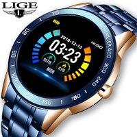 Lige banda de aço relógio inteligente masculino fitness rastreador pressão arterial freqüência cardíaca multifunções aplicável para ios android smartwatch