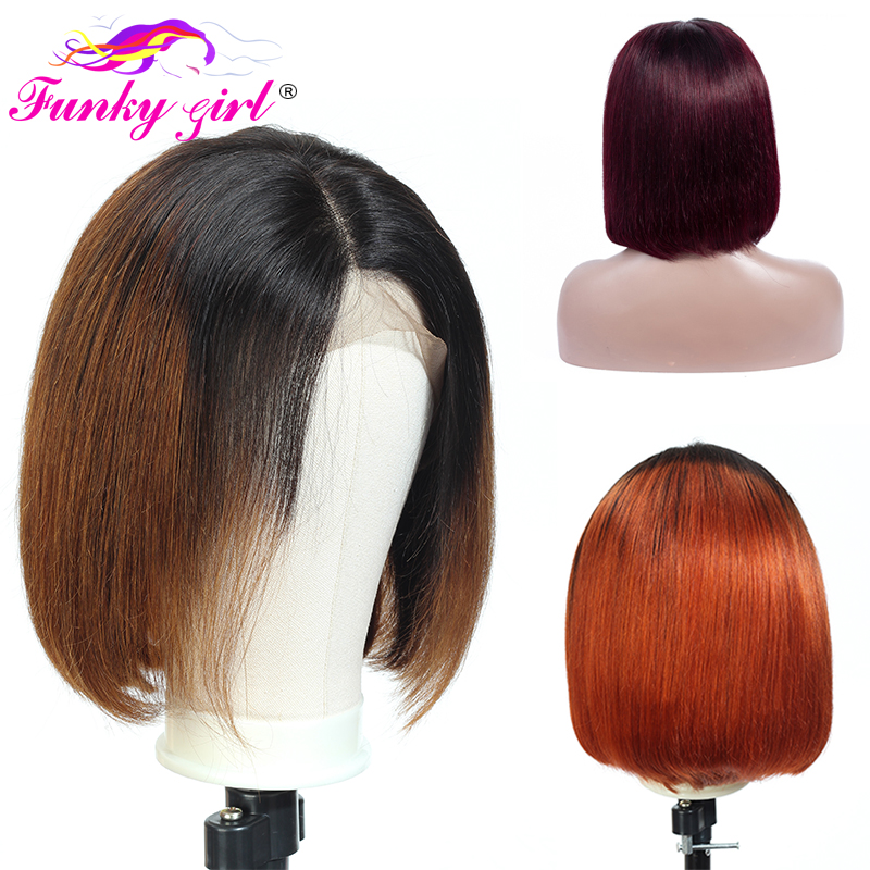 Funky Girl Lace Front Human Hair Wigs For Women Brazilian Non-Remy Hair Ombre Short Bob 13*4 Lace Front Wig 3 Color To Choose
