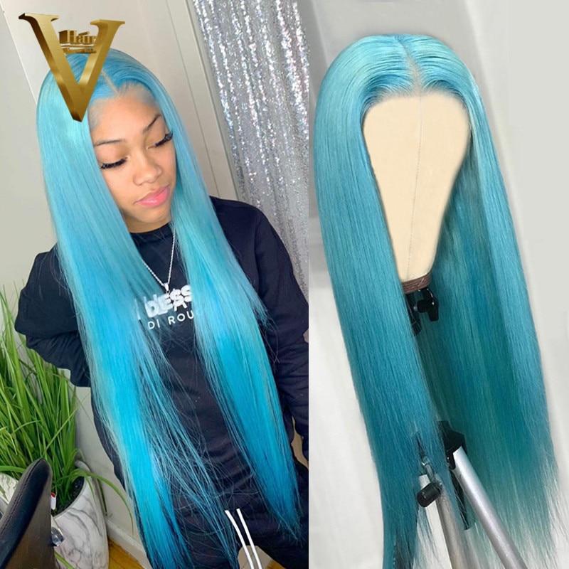 Perruque brésilienne naturelle Remy, cheveux longs et lisses, couleur bleu clair, 180, pour femmes