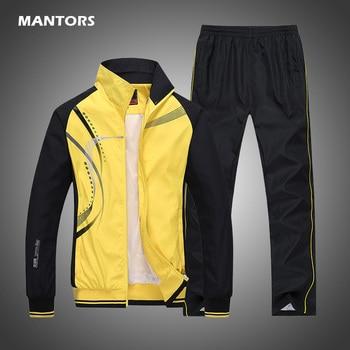 Men's Sportswear Set Spring Autumn Print Tracksuit Men 2 Piece Sets Jacket+Pant Sweatsuit Casual Sporting Outerwear Clothing 1