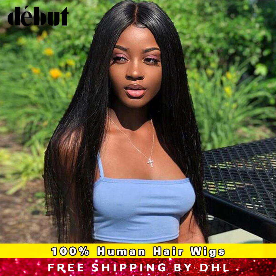 Debut Brazilian 4x4 Lace Front Human Hair Wigs For Black Women Remy Straight Natural Color Hair Wig Women's Wigs Free Shipping