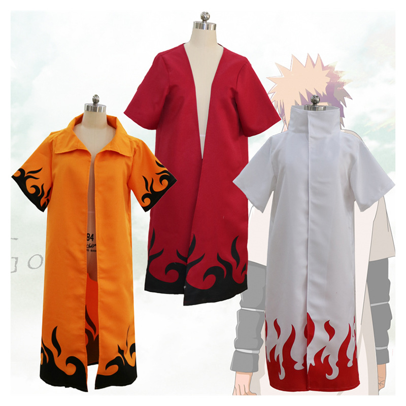 Naruto Shippuden Cosplay Cloak 4th and 6th Hokage Cloak Robe White Cape Dust Coat Unisex Fourth Hokage Namikaze Minato Uniform