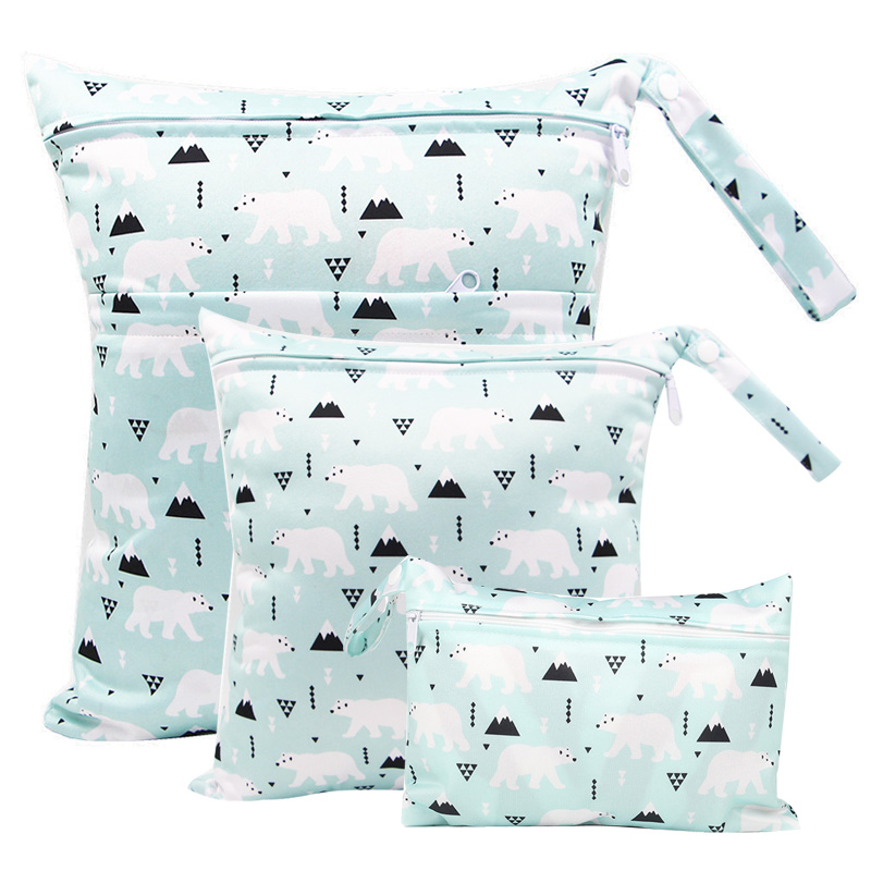 Reusable Diaper Bag Wetbag Polar Bear Printed PUL Maternity Bags Menstrual Nursing Pad Stroller Diaper Bags  Wet Bag Washable