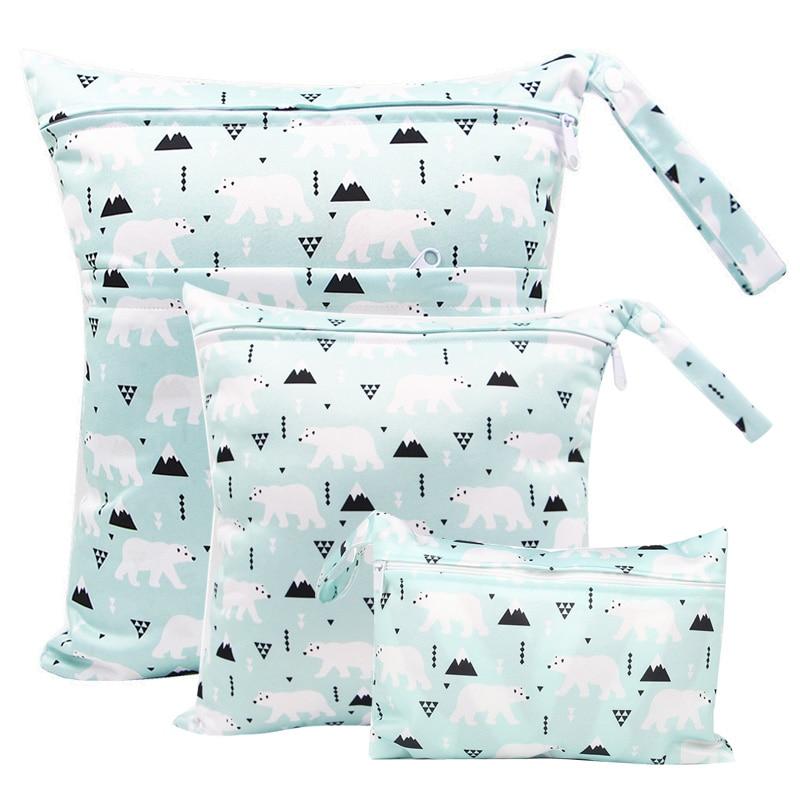 Reusable Diaper Bag Wetbag Polar Bear Printed PUL Maternity Bags Menstrual Nursing Pad Stroller Diaper Bags  Wet Bag Washable