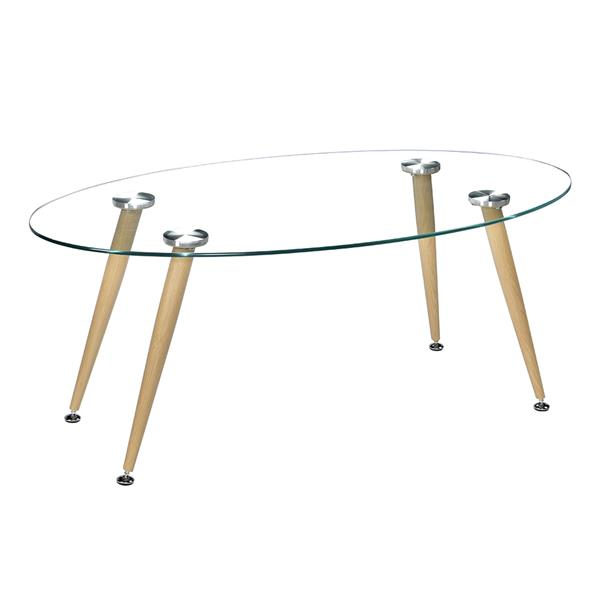 Wood Grain Conical Leg &Transparent Tempered Glass Coffee Table minimalist coffee table side tables furniture living room table