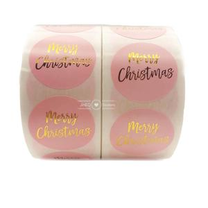 500pcs Pink Gold Foil Merry Christmas 1'' Circle Thank You Sticker Labels For Xmas Gift Cards Business Package Sealing Stickers