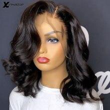 Natural preto frente do laço perucas de cabelo humano para as mulheres pré arrancadas brasileiro remy parte lateral curto bob onda 13x4 peruca dianteira do laço