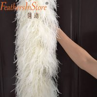 Free shipping 1 pc 2 meters 12 ply Beige Cream Ostrich Feather Boa for party decor