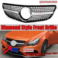 New Chrome W207 C207 A207 Diamond Grill Car Front Bumper Grill Grille For Mercedes For Benz E For Coupe W207 C207 A207 2014 2016