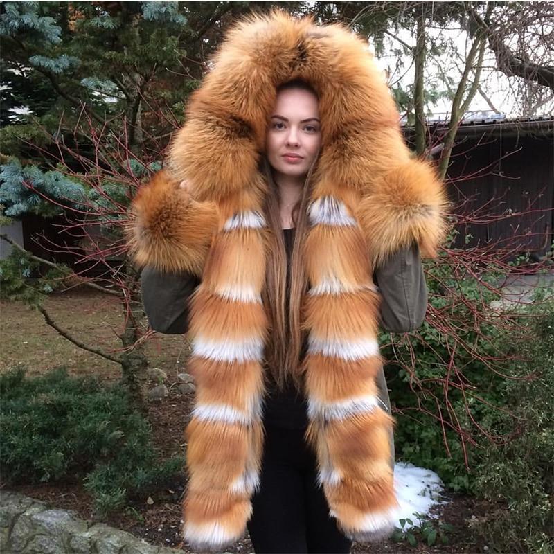 EIFURKOP réel naturel fourrure de renard rouge Parka à capuche femmes mode manteau de fourrure avec fourrure de lapin Rex détachable doublure courte fourrure de renard Parkas