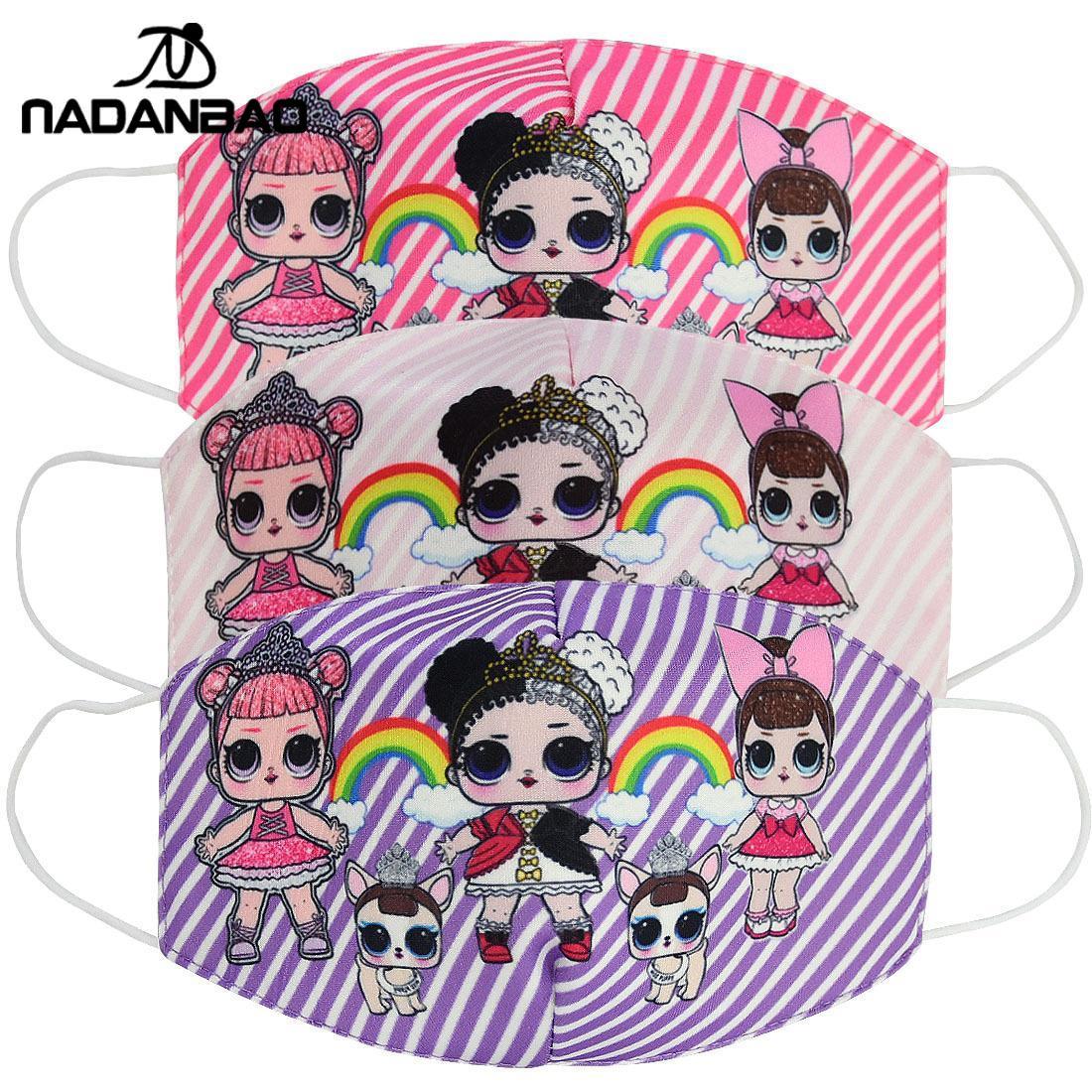NADANBAO 2020 New Children's Print Face Mask Cotton Dust-proof Anti-fog Kid's Mask Pink Stripe LOL Doll Print Masks For Women