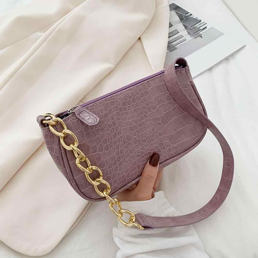 Women Small Street PU Leather With Chain Crocodile Pattern Underarm Bag