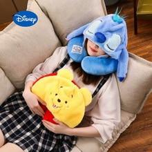 disney Stitch Cartoon Soft Hooded U pillow Travel Pillow plus hat Cushion Soft Nursing adult kids
