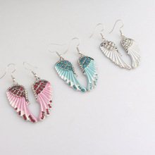 FXM Fashion cartoon tricolor angel wings earrings creative ladies elegant female jewelry