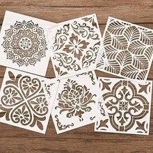 Plantilla para pintura Mandala manualidades DIY de 15 CM en madera, estampado artístico de recortes para pared álbum decorativo tarjetas de papel de grabado