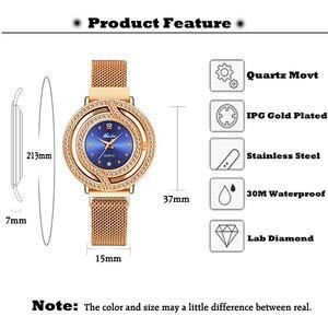 Image 2 - MISSFOX Magnetische Uhr Frauen Luxus Marke Wasserdicht Diamant Frauen Uhren Hohl Blau Quarz Elegante Gold Damen armbanduhr