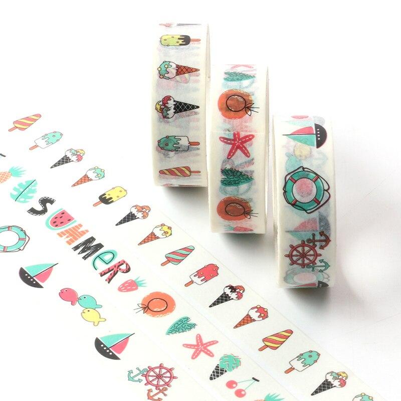 5M Cute Grid, Flower, Ice Cream Adhesive Washi Tape Single Sided Decorative Paper Masking Scrapbook DIY Card Sticker Tape